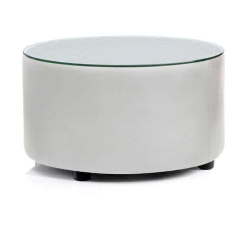 Trident Round White Leather Coffee Table With A Gl Top