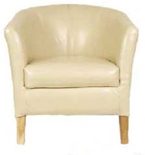 Alpha Leather Tub Chair Ivory