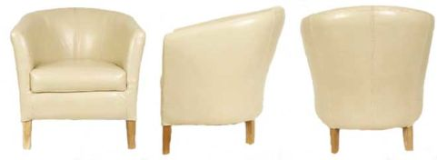 Alpha Leather Tub Chairs In Ivory Leather