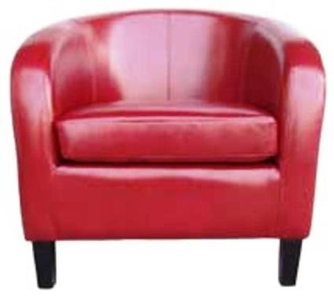 Purley Red Leather Tub Chair