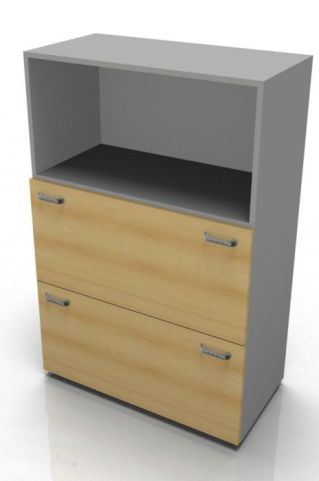 Quad Mid Height Combination Unit With Two Filing Drawers
