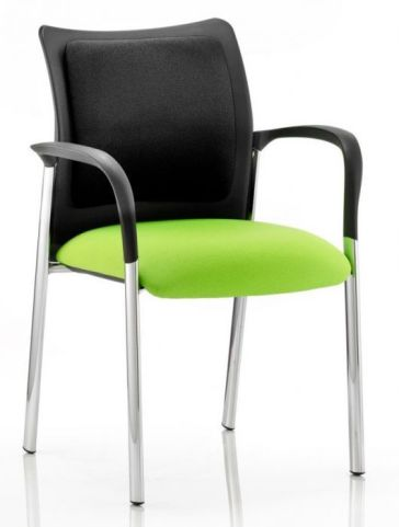Breeze Conference Arm Chair With Green Seat And Upholstered Back Pad