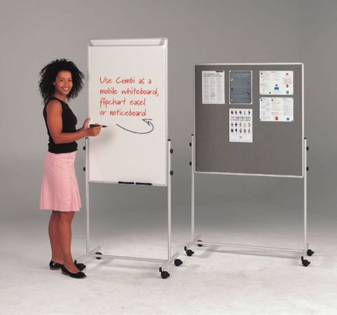 Mobile Combination Whiteboard And Noticeboard