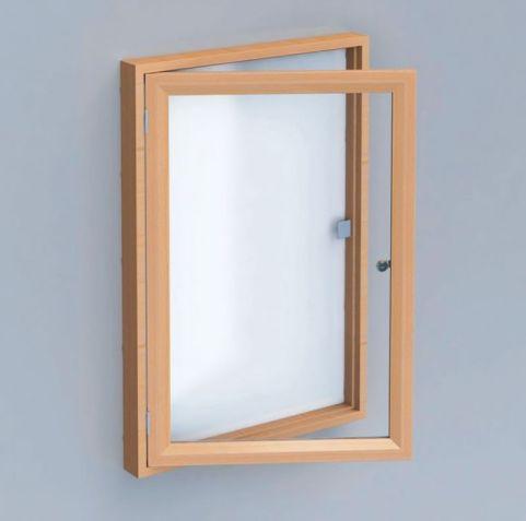 Real Wood Lockable Whiteboard Open