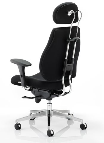 Chiro Ultimate Chair In Black Leather Rear View