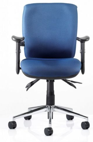 Chiro Medium Back Ergonomic Chair Blue Fabric Front View