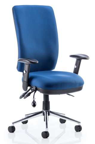 Chiro High Black Chair Blue Fabric