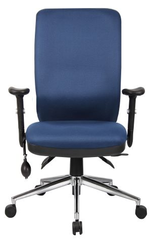 Chiro High Back Chair Blue Fabric Front View