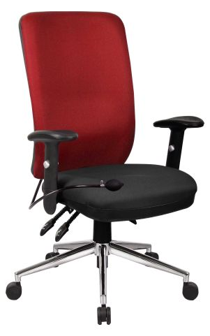 Chiro High Back Upholstered Black Base Red Back