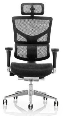 Dynamo All Mesh Chair Black Frame With Headrest Facing