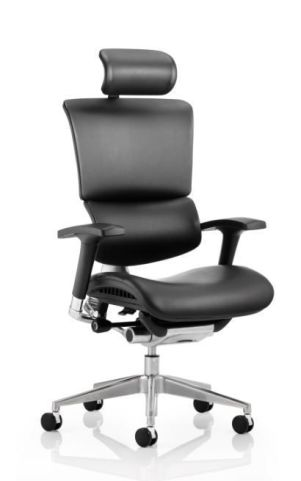 Dynamo Black Leather Task Chair Front Angle