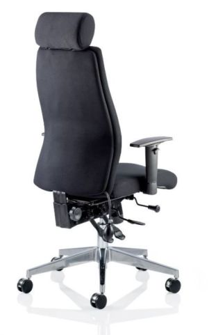 Jet Black Leather 24 Hour Task Chair