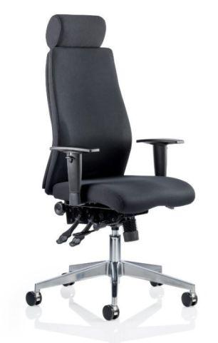 Jet Black Fabric Ergonomic Chair