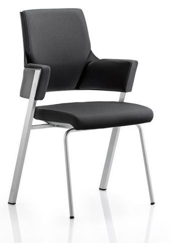 Executive Black Leather Visitors Chair Front Angle