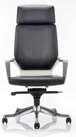 Atomic Black Leather Chair Front View