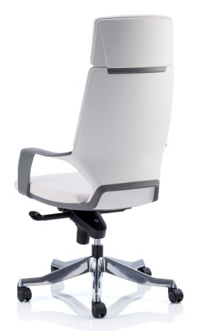 Atomic White Leather Executive Chair Rear View