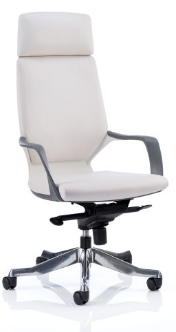 Atomic White Leather Executive Chair