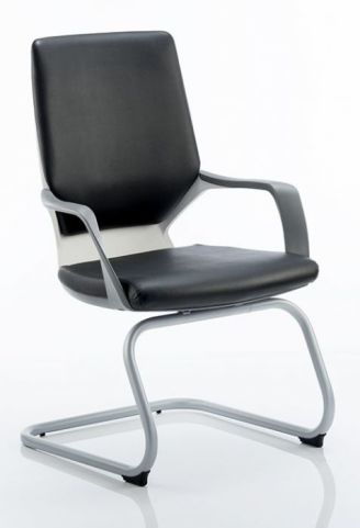 Atomic Black Leather Visitors Chair