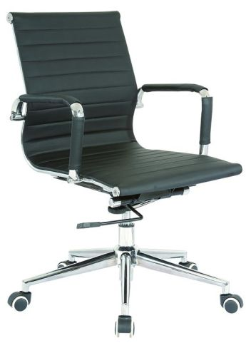 Ital Mid Back Black Leather Designer Chair