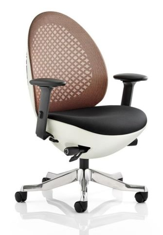 Podule Designer Chair With An Orange Mesh Back And White Fram E