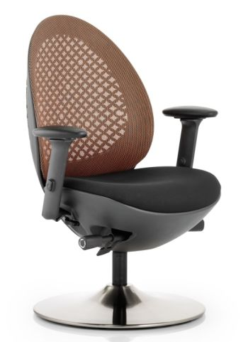Podule Chair With A Circular Base An An Orange Mesh Back