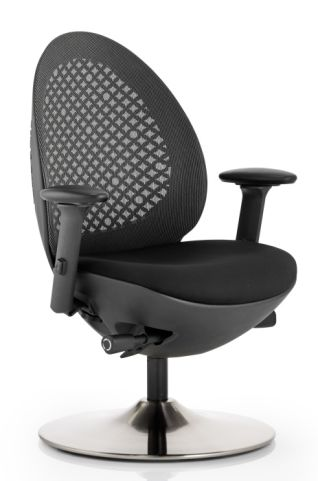 Podule Chair With A Black Mesh Back And Circular Base