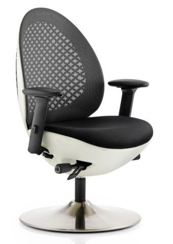 Podule Chair White Frame Black Mesh Back