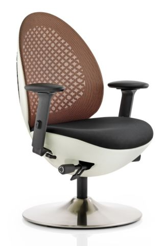 Podule Chair Orange Mesh Back And White Frame Front Angle View