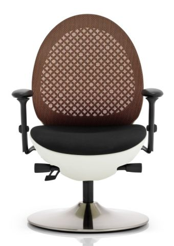 Podule Chair Orange Mesh Back And White Frame Front Angle