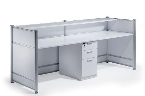 Imeet White Gloss Reception Desk Rear View
