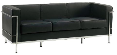 Black Leather Corbusier Thre Seater Angle Shot