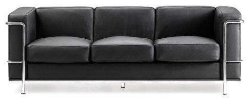 Black Leather Corbusier Three Seatar Facing