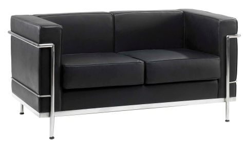 Corbusier Black Leather Two Seater Front Angle