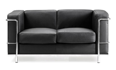 Corbusier Black Leather Sofas - Special Offer