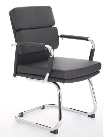 Majestic Visitors Chair In Black Leather Front Angle