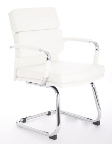 Majestic White Leather Visitors Chair Angle Shot