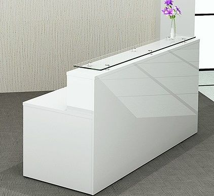 Gloss White Reception Desk Glossy Office Reality