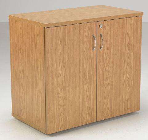 Flite Low Double Door Cupboard In Oak Front Angle