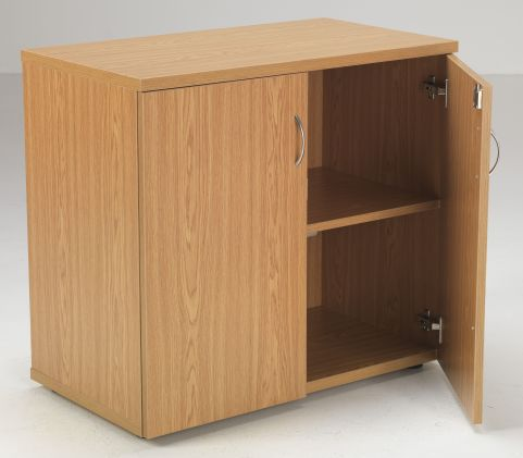 Flite Low Double Door Cupboard With Open Door In Oak