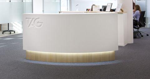 Curved Reception Desk Evoke Office Reality