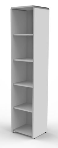 Lunar Tall Narrow Bookcases In Grey