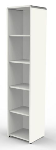 Lunar Tall Narrow Bookcases In White