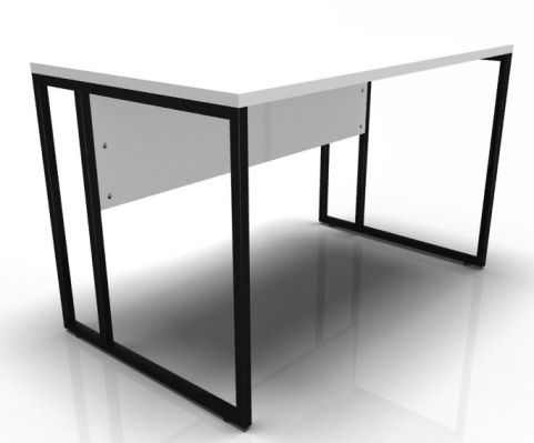 Factory Single Bench With A White Top And Black Frame