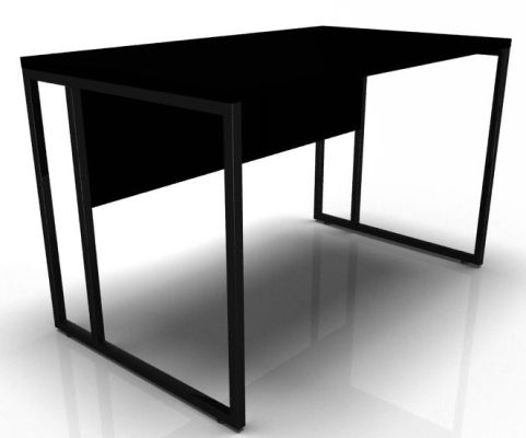 Factory Single Bench Desk With A Black Top And Black Frame