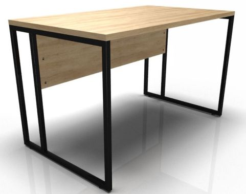 Factory Single Bench Desk With Oak Top And Black Frame