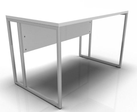 Factory Single Bench Desk With A White Top And Chrome Frame