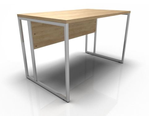 Single Desk - Oak With Chrome Legs