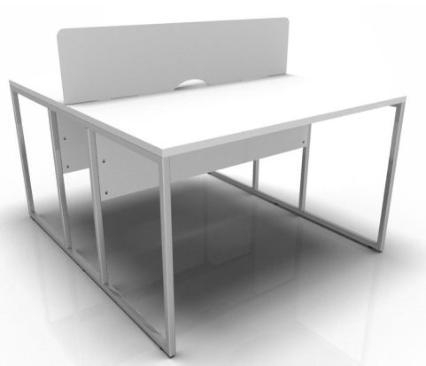 Factory Two Person Banch Desk In White With Chrome Frame And Screen