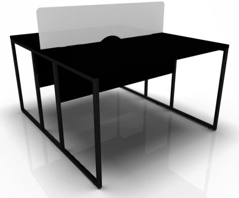 Sfactory Two Person Bach Desk In Black And Black Top