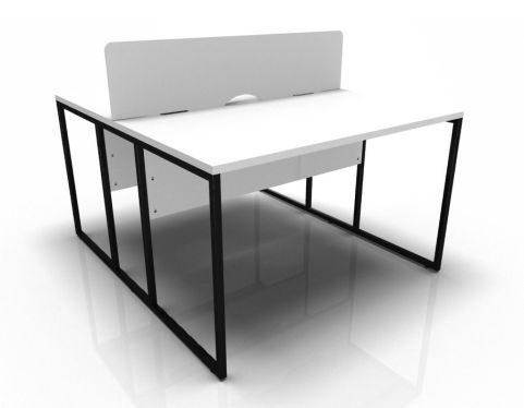 2factory Two Person Bench Desk With White Tops And Screen